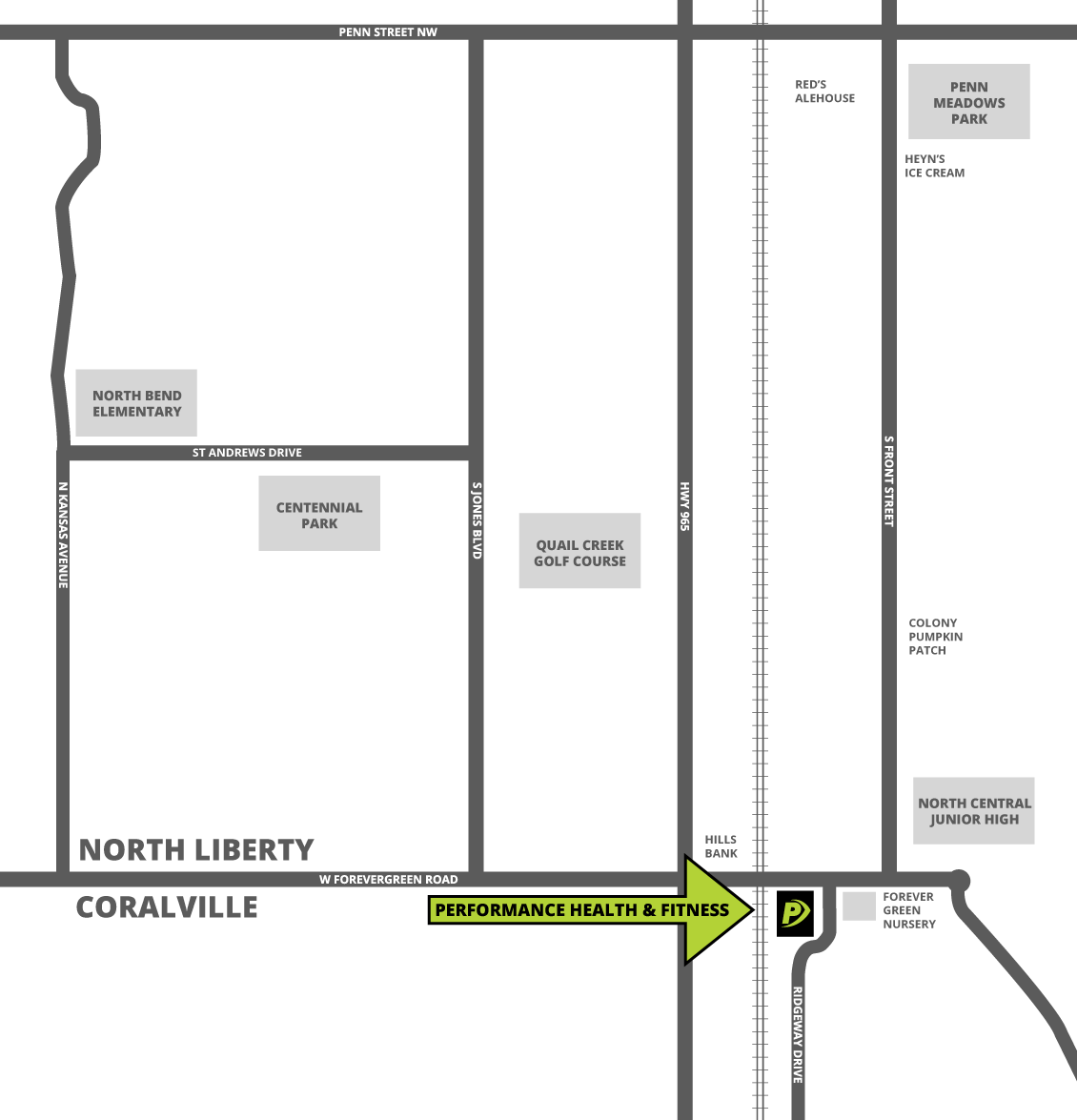 Performance Health & Fitness Location Map