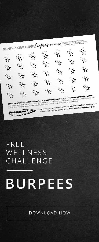 Burpees Wellness Challenge Printable Worksheet